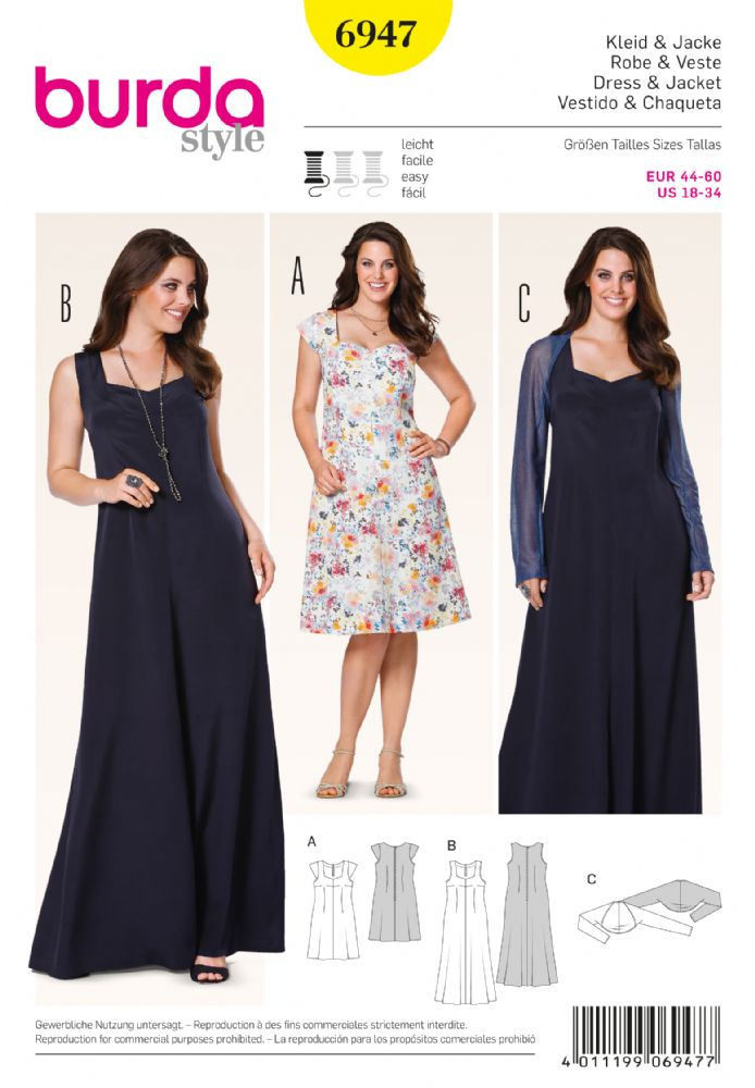 6947 Burda Pattern Ladies Plus Size Day Or Evening Dress And Shrug
